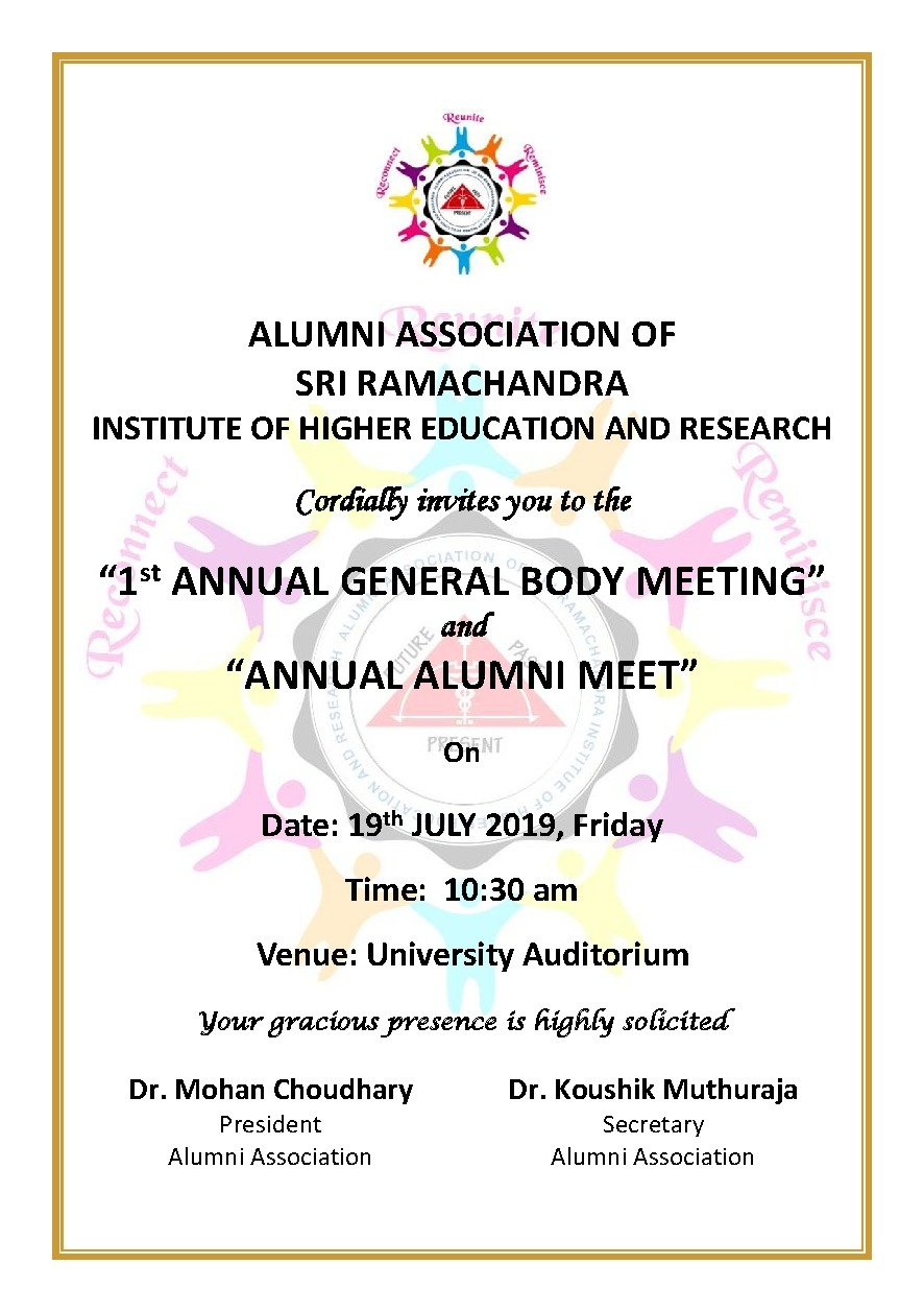 Annual General Body Meeting and Annual Alumni Meet 2019