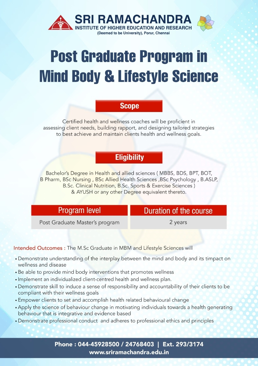 Post Graduate Program in Mind Body & Lifestyle Science